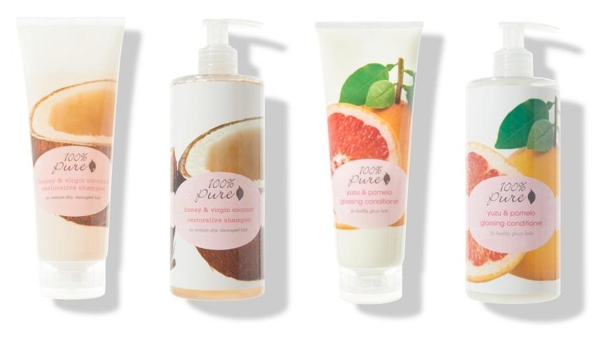 100% Pure – kokosový šampon a kondicionér yuzu a pomelo