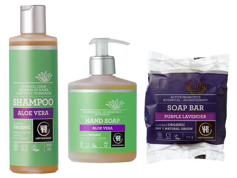 Urtekram - šampon a tekuté mýdlo aloe vera, levandulové tuhé mýdlo