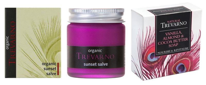 Organic Trevarno - Mast Sunset a přírodní mýdlo z vanilky, mandlí a kakaového másla