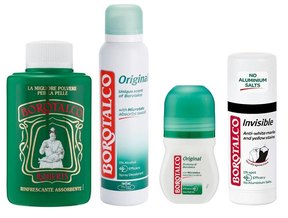 Borotalco - tělový pudr a deodoranty