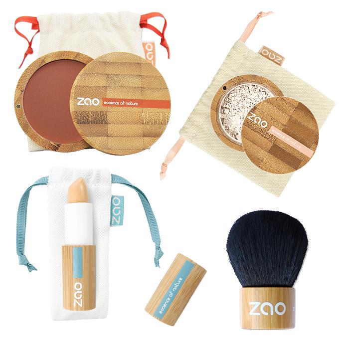 ZAO - tvářenka, minerální make-up, korektor a kabuki štětec