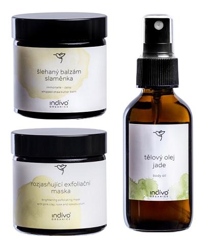 Indívo Organics – tělový olej Jade, rozjasňující exfoliační maska, šlehaný balzám slaměnka