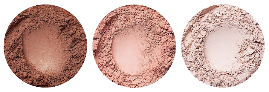 Annabelle Minerals - pudr Pretty Glow, tvářenka Sunrise, stíny Nougat a houbičky Softie