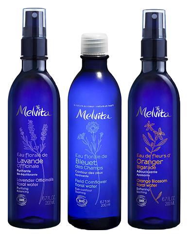 Melvita – květové vody (levandulová, z pomerančových květů, chrpová)