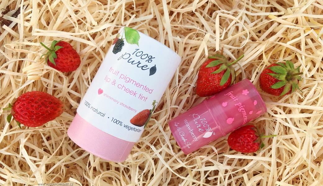 100% Pure - tyčinka na tváře a rty Shimmery Strawberry