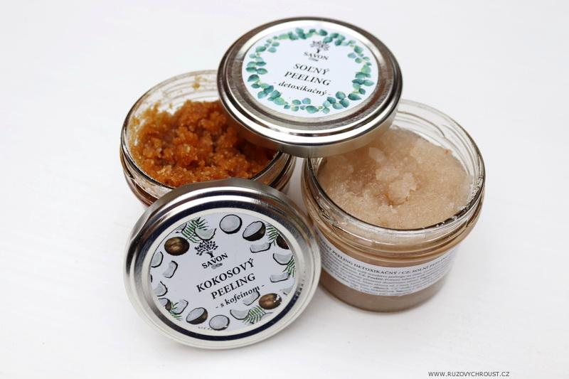 Savon - kokosový peeling s kofeinem a solný detoxikační peeling