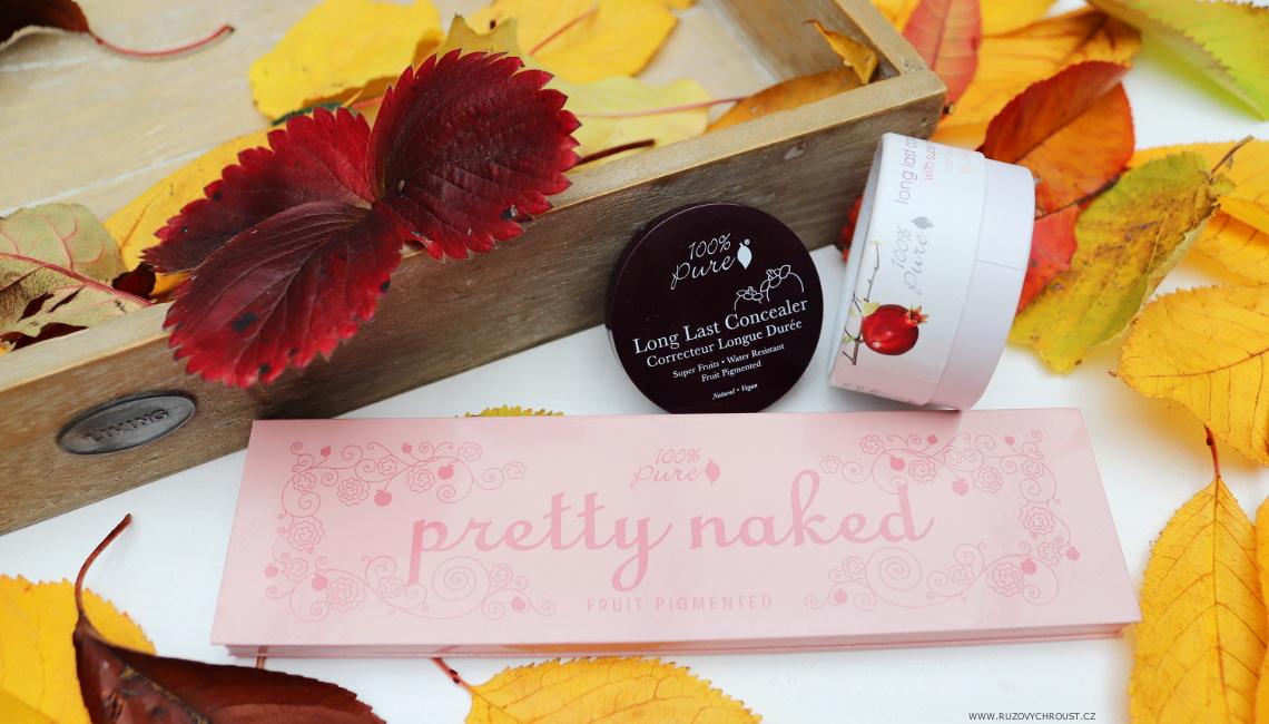 100% Pure - paletka Pretty Naked + dlouhotrvající korektor Créme (Fruit Pigmented)