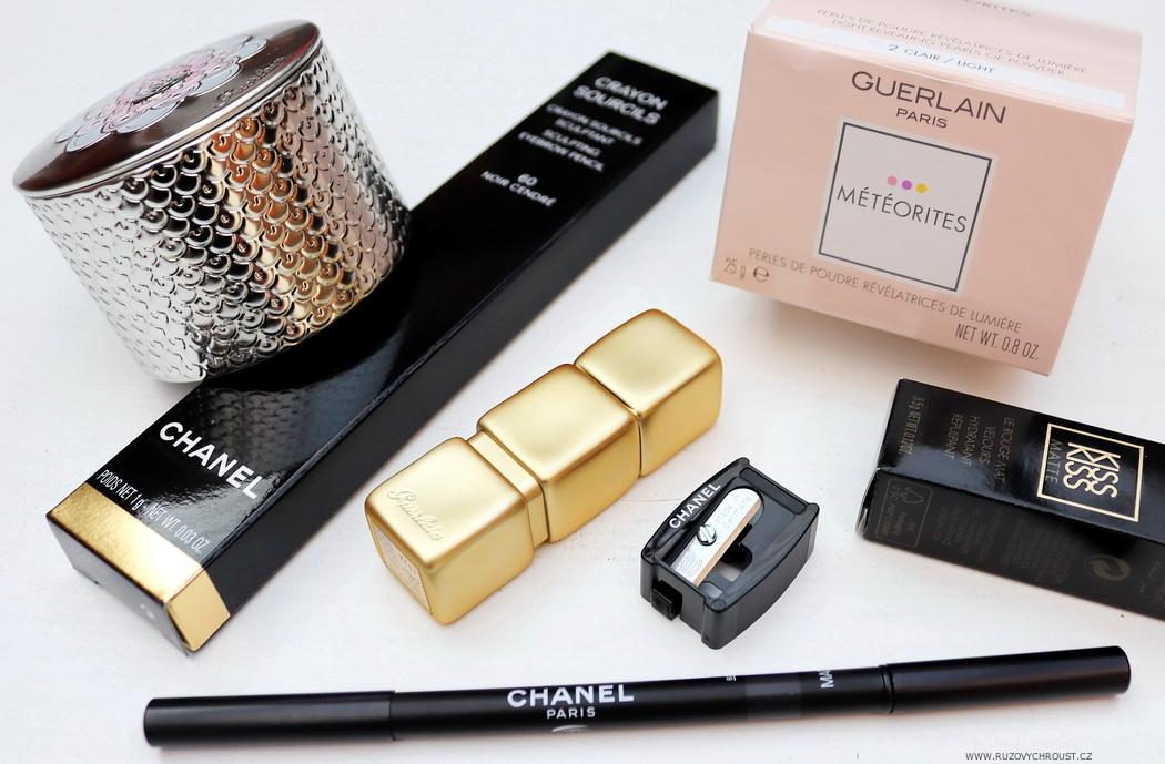 Guerlain Météorites, Chanel tužka na obočí, Guerlain KissKiss rtěnka