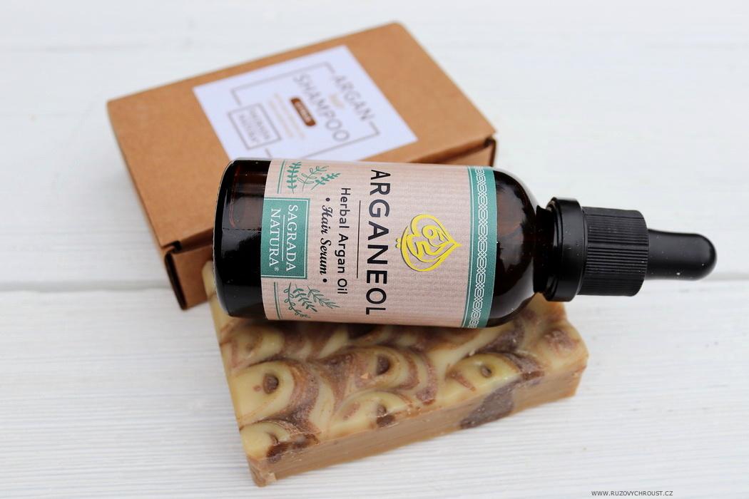 Sagrada Natura - arganový tuhý šampon Citrus a vlasové sérum