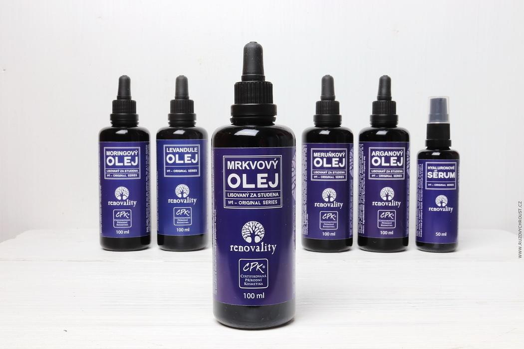 Renovality oleje - arganový, levandule, moringový, mrkvový, meruňkový + hyaluronové sérum