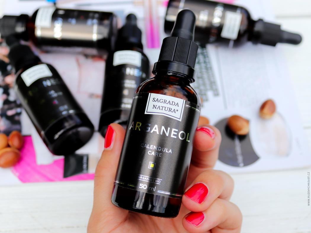 Sagrada Natura - BIO Arganové oleje s extrakty a vůněmi (Měsíčková péče, Damašská růže, Levandulové sny, Kořeněný pomeranč, Esence orientu)