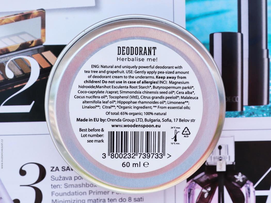 """Wooden Spoon - Přírodní krémový deodorant """"Herbalise me!"""""""