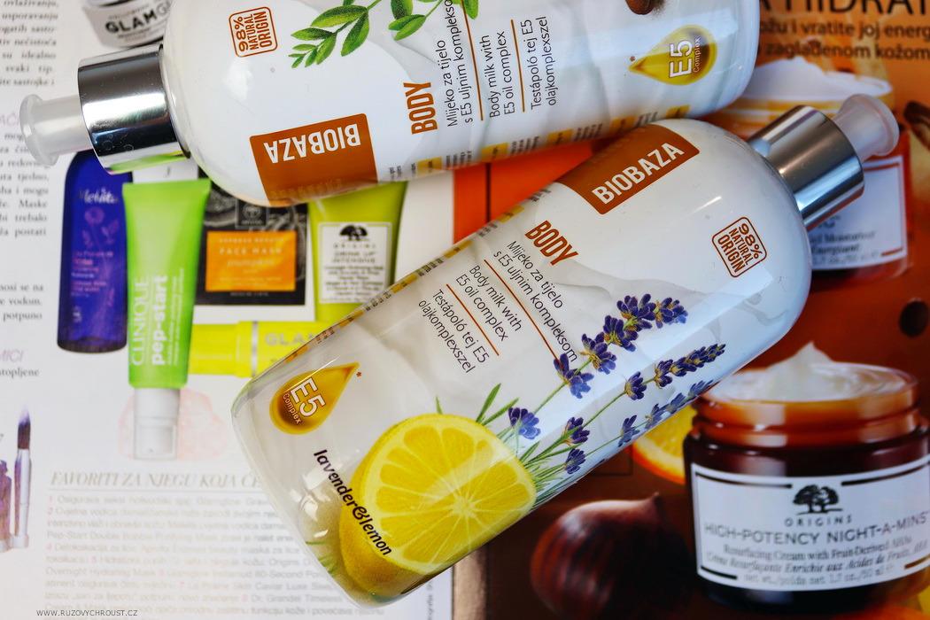 Biobaza - tělové mléko Argan/Jojoba a tělové mléko Levandule/Citron