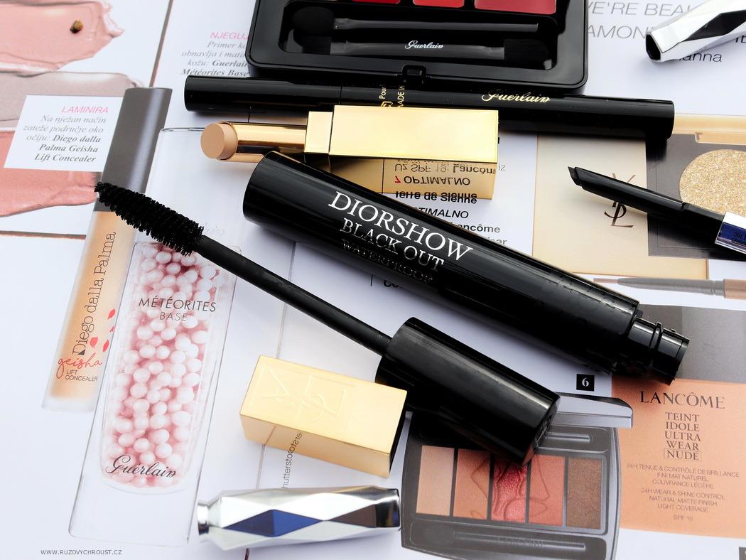 Guerlain Kiss Kiss paletka a oční linky ve fixu, YSL korektor, Christian Dior voděodolná řasenka, Benefit tužka na obočí