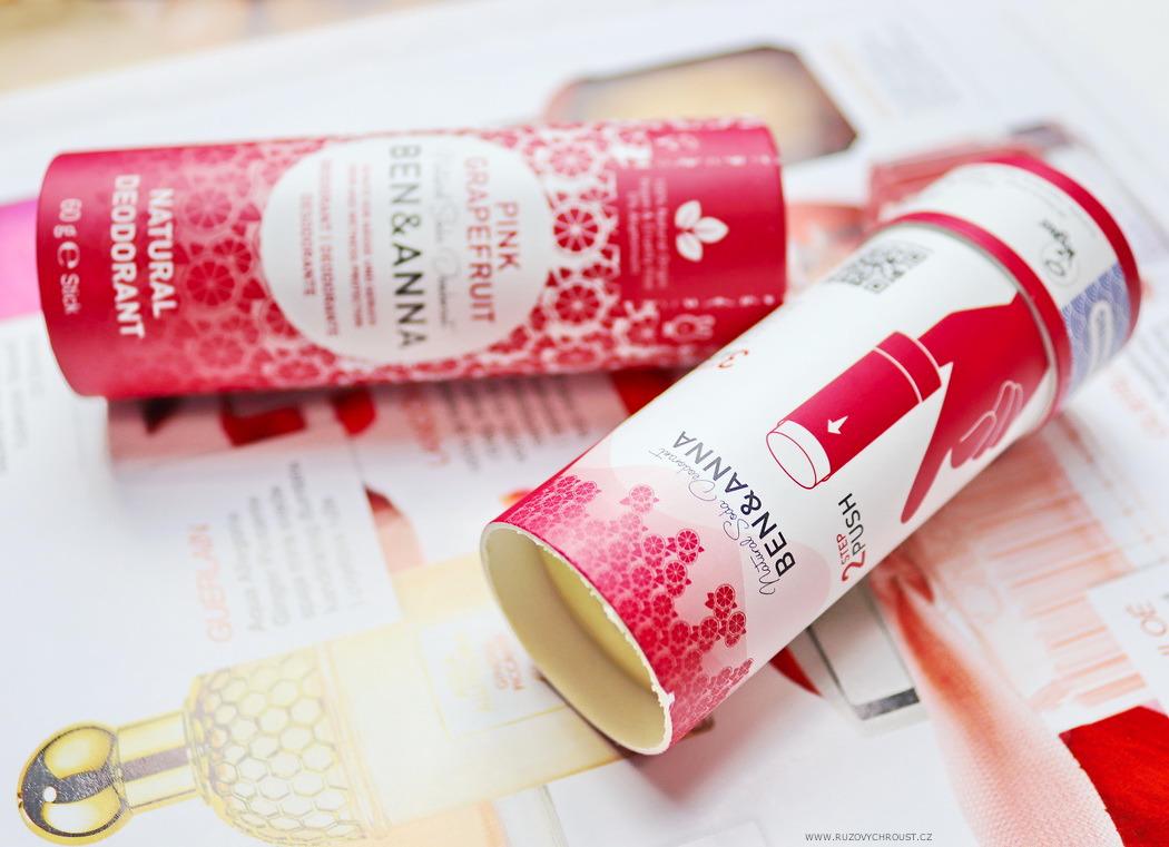 Ben & Anna - tuhý deodorant Růžový grapefruit BIO