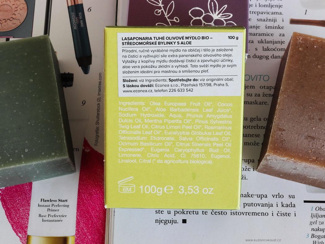 La Saponaria BIO mýdla - Myrta a červené hrozny, Středomořské bylinky s aloe, Marseillské mýdlo na ruční praní