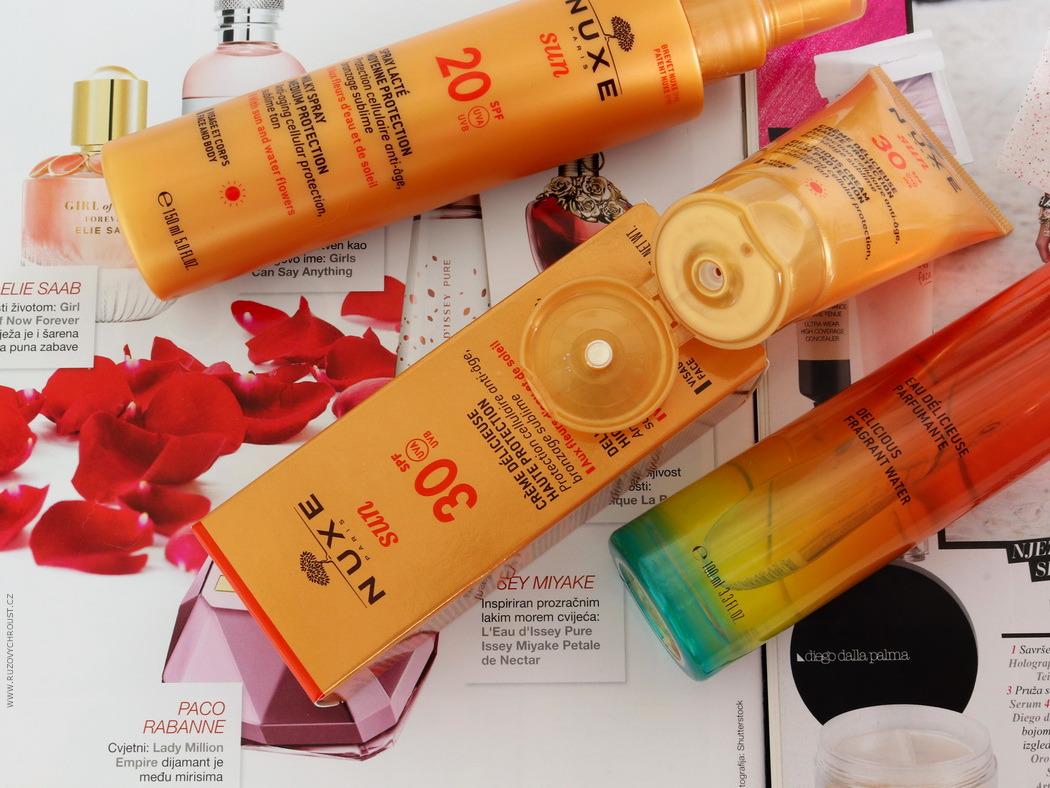 Nuxe - opalovací krém na obličej SPF30, opalovací sprej na tělo a obličej SPF20 a tělová vůně Nuxe Sun