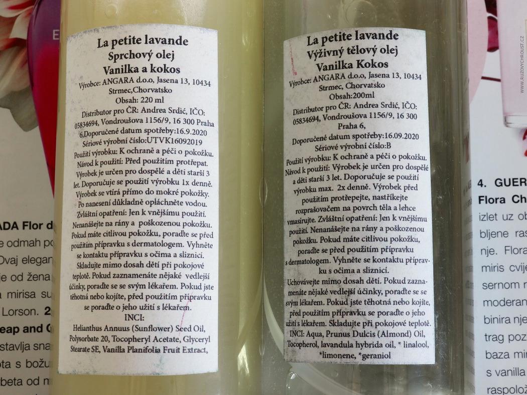 La petite lavande - výživný tělový olej a sprchový olej (Vanilka a kokos)