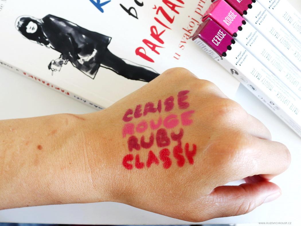 Le Papier - 4 matné rtěnky, odst. Cerise, Classy, Rouge a Ruby
