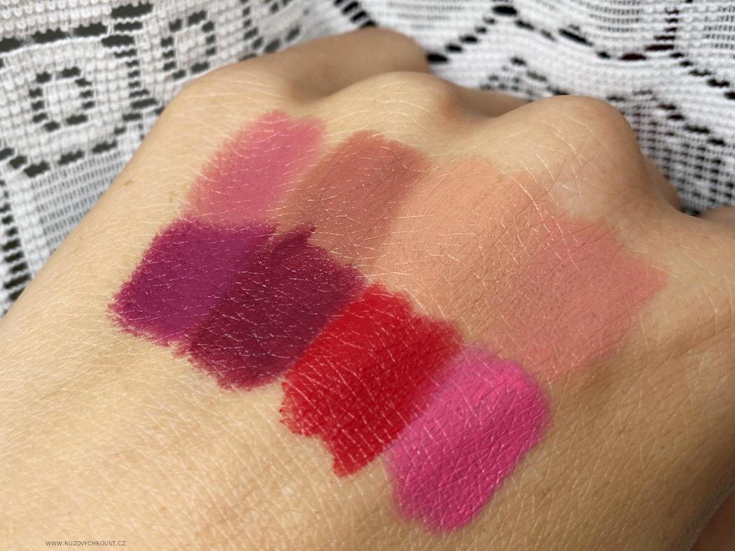 Le Papier - 4 lesklé rtěnky, odst. Blossom, Blush, Coral a Dusty Rose