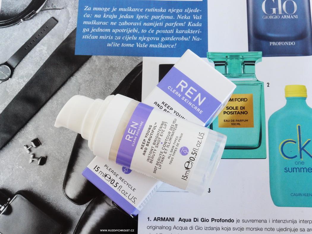 REN - hydratační pleťový olej, liftingové oční gelové sérum, rozjasňující a hydratační pleťový gel