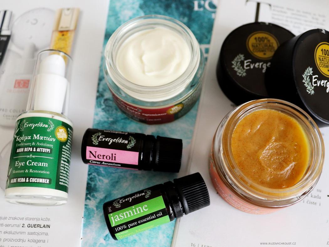 Evergetikon - pleťový peeling s meruňkou a pomeranči, esenciální oleje Jasmín a Neroli, oční krém s aloe a okurkou, krém proti vráskám s aloe vera
