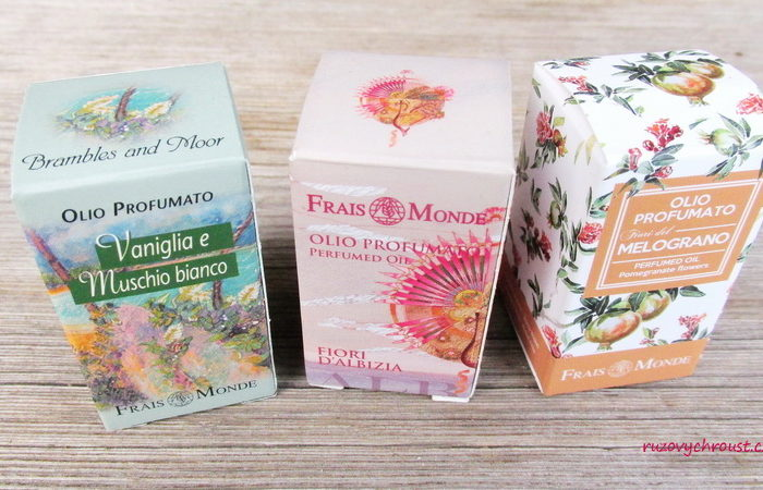 Frais Monde parfémované oleje – Flowers of Albizia, Vanilla and White musk, Pomegranate flowers